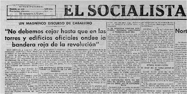 Contraportada de la edición de El Socialista, periódico oficial del PSOE, del 9 de noviembre de 1933