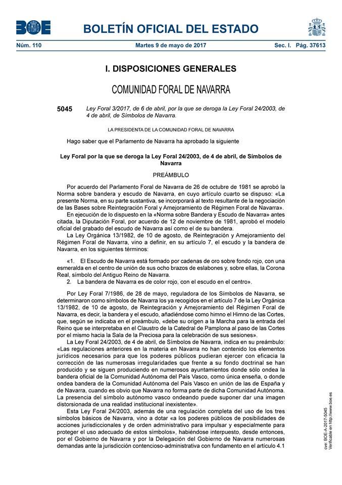 Derogación símbolos de Navarra