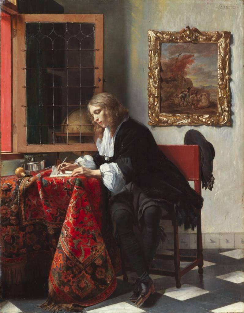 Hombre escribiendo una carta. Gabriël Metsu. 1662-1665. Galería Nacional de Irlanda
