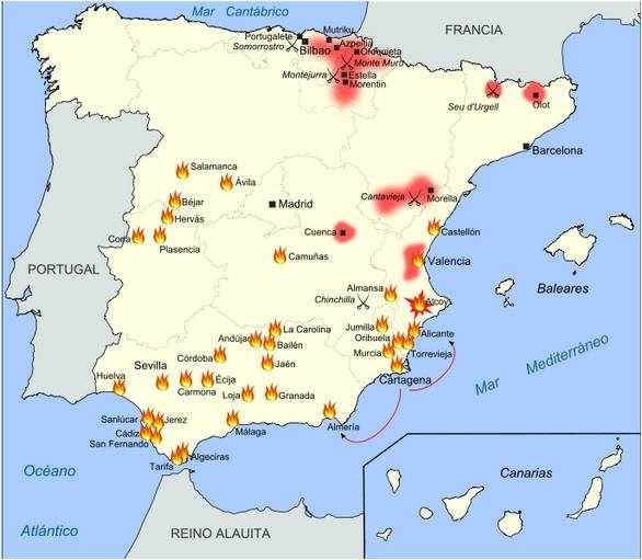 Mapa de los levantamientos cantonales 1873 y 1874. http://www.grandesbatallas.es/levantamiento%20cantonal.html