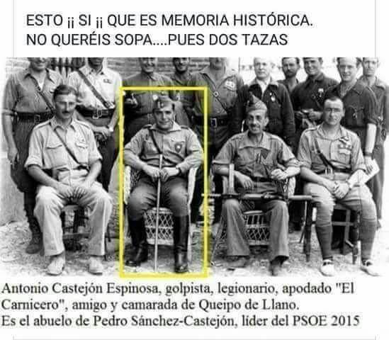 Pedro Sánchez genéticamente es nieto de un general de Franco