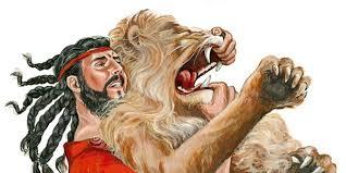 Sansón mata a un león con sus manos y nada más