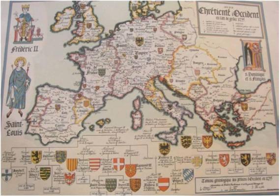 En este mapa reproducción de la situación política europea de 1235,