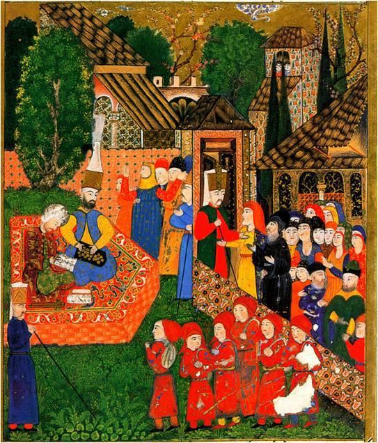En la imagen primera se representa la inscripción de niños para el devşirme, en una miniatura otomana del Suleymanname, 1558.