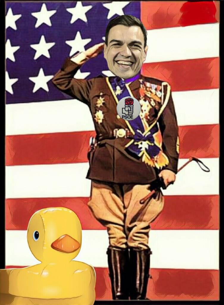Recuerdo cuando Pdr Snchz emuló a Patton al principio de la Campaña Electoral posando delante de un banderón de España