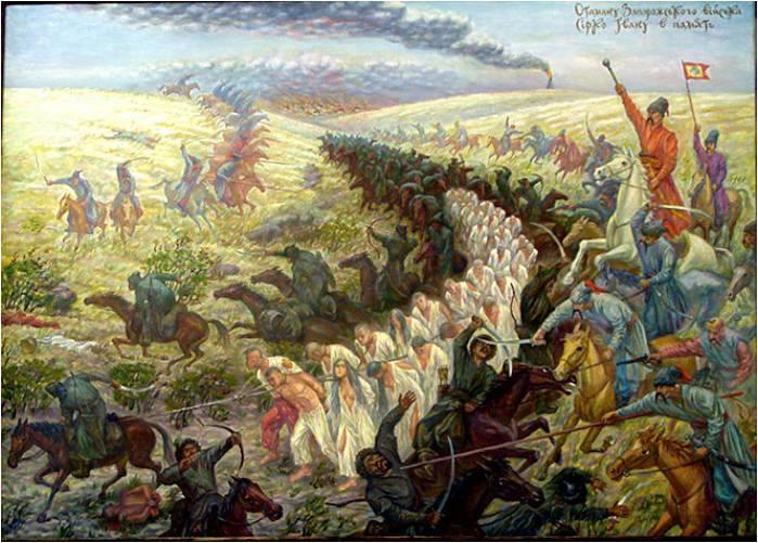 cosacos atacan una columna de tártaros que vuelven cargados de esclavos después de saquear la ciudad incendiada al fondo