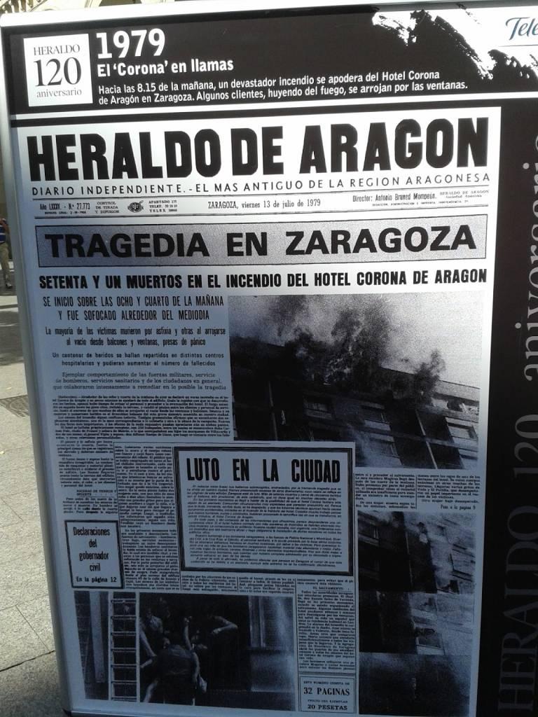 homenaje a las víctimas del hotel Corona de Aragón. Portada del Heraldo de Aragón
