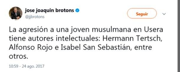 El miserable mensaje en Twitter de Brotons