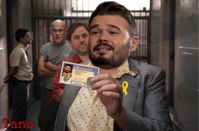 Momento en que Gabriel Rufián de ERC da un mitin en la carcel de Lladoners con la aprobación de la junta electoral central. Por Tano