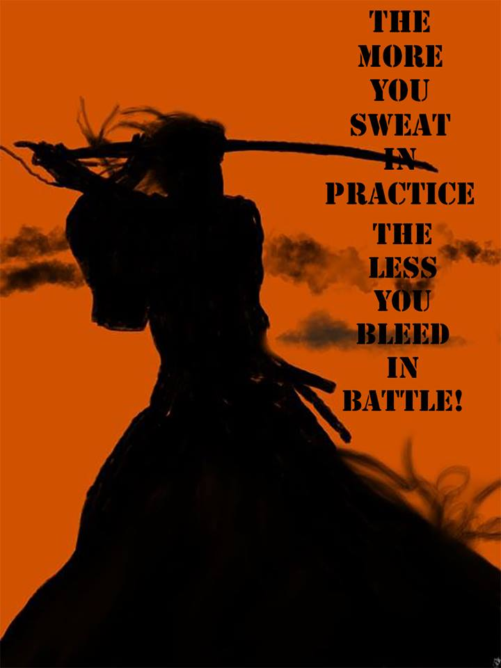 Cuanto más sudes durante el entrenamiento, menos sangrarás durante el combate