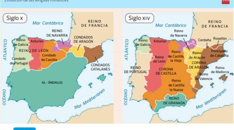 """Lengua tercero de ESO, libro de texto fuera del ámbito territorial de Cataluña. Condados catalanes en el siglo X, cuando el realidad es marca Hispánica. En el siglo XIV """"principado de Cataluña"""" ente que jamás existió."""