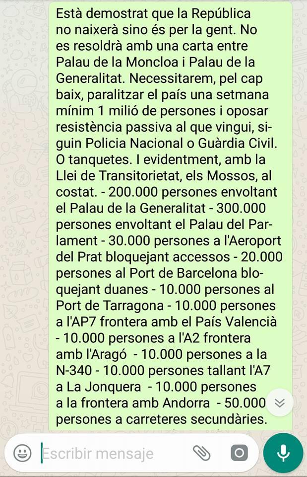 Mensaje de la movilización callejera en Cataluña. Continuación