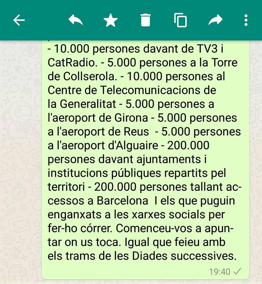 Mensaje de la movilización callejera en Cataluña