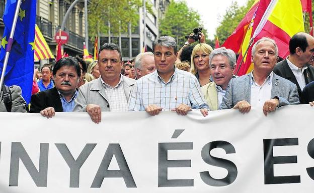 Policarpo Sánchez en la manifestación de Barcelona