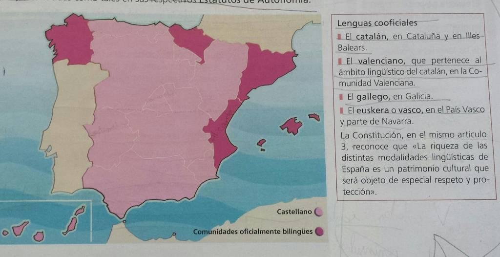 Primero de ESO, editorial SM, libro de texto en la Comunidad de Madrid. El catalán en Cataluña y Baleares. El valenciano perteneciente al ámbito lingüístico del catalán.