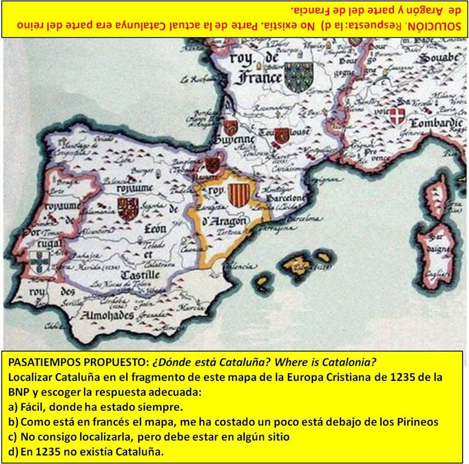 """Reproducción de un fragmento del mapa bajo el título """"La Cristiandad de Occidente en el año de gracia de 1235"""". Bibl. Nac. De París. Como vemos aparece Aragón y Barcelona, no Cataluña."""