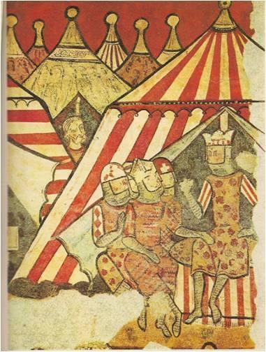 El rey Jaime I con sus nobles delante de la tienda real reunido en consejo de guerra en el sitio de Mallorca