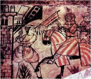 Escena de la toma de Valencia por Jaime I. Pintura mural, Alcañiz.