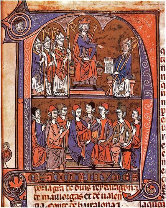Jaime I de Aragón recibiendo del obispo y jurista Vidal de Canellas los Fueros de Aragón