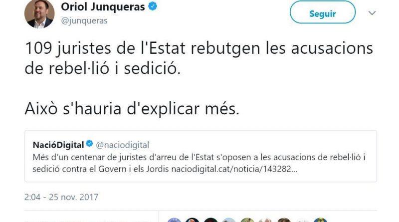 Junqueras publica en twitter que 109 juristas rechazan la as acusaciones de rebelión y sedición