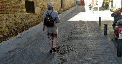 La mesetaria llegando al encuentro en gran paseata por el Barrio de ls Letras en Madrid. Foto de J.M. Novoa