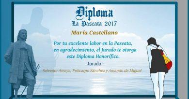 diploma La Paseata a María Castellano