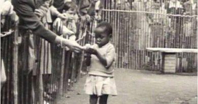 1958 en Bélgica:  exhibición de niños africanos a los que se daba de comer como si fueran monos