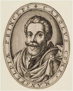 El conde Maestre de Campo Carlos de Mansfeld según un grabado de Abraham Hogenberg.