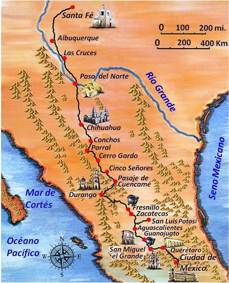Elaboración propia ©José Antonio Crespo-Francés. El camino Real de Tierra Adentro.
