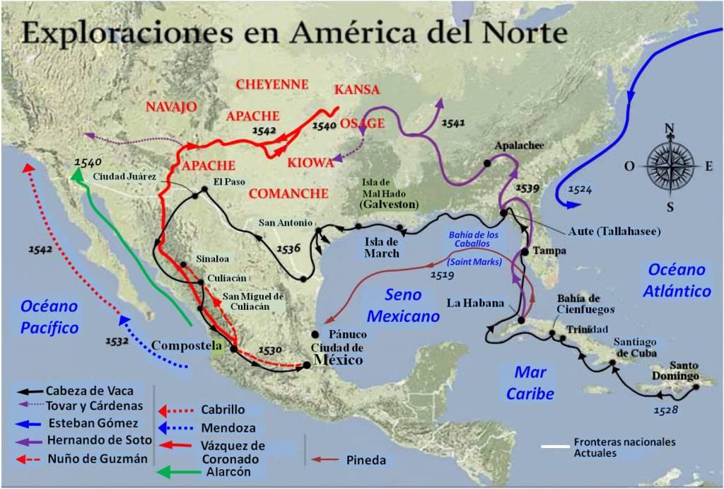 Elaboración propia ©José Antonio Crespo-Francés. Las primeras exploraciones en América del Norte.
