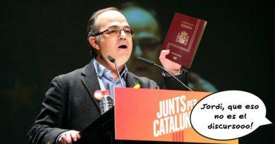 Jordi Turull con Pasaporte. Ilustracón de Nacho Díaz