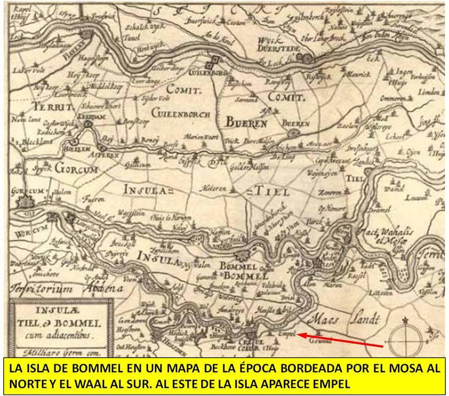 La isla de Bommel en un mapa de la época
