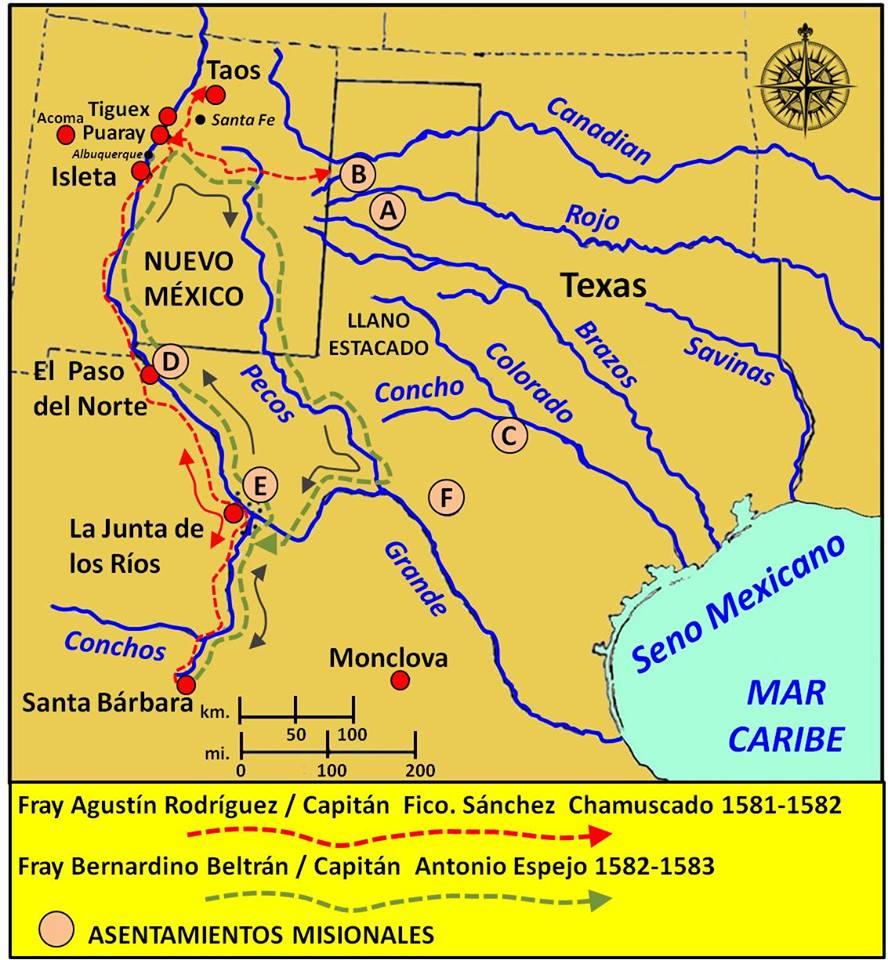 Las expediciones menores al suroeste del los capitanes Chamuscado y Espejo.