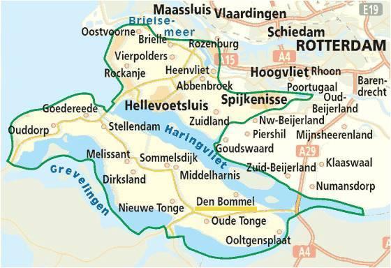 Mapa de la isla de Bommelwaard y población de Den Bommel