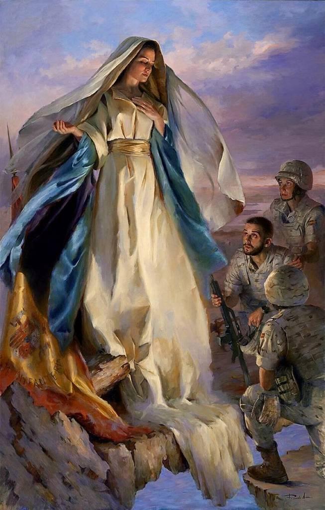 Maravilloso cuadro de Ricardo Sanz inaugurado hoy en la Academia de Infantería de Toledo.