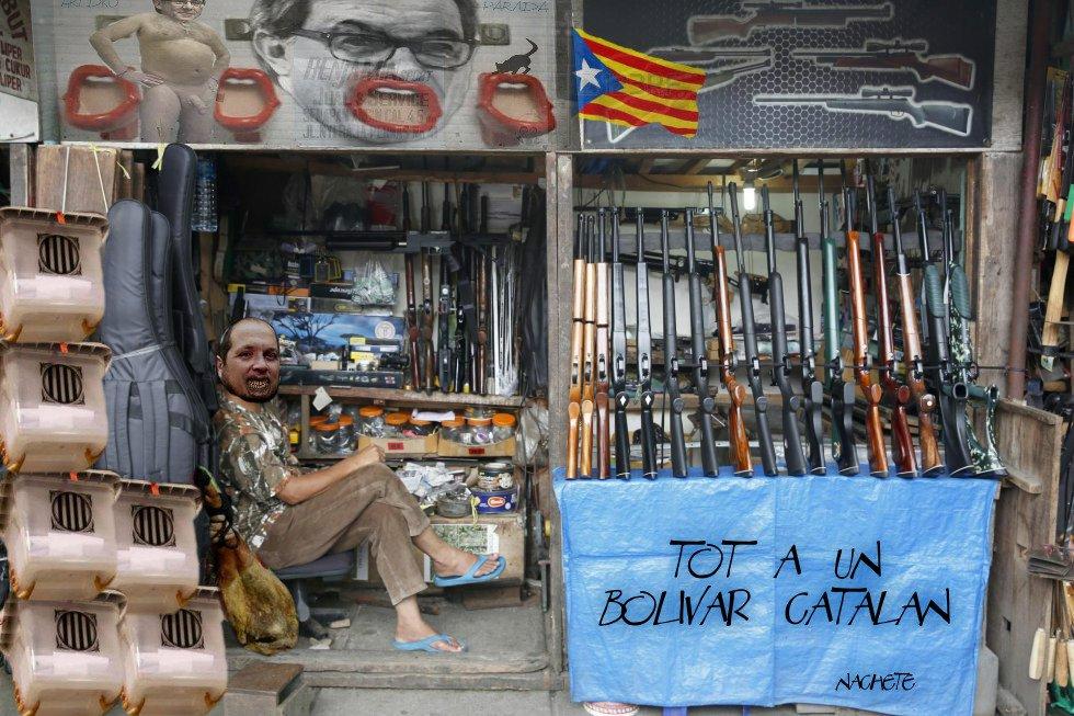 Tot a un bolivar catalán. Ilustración de Nachete