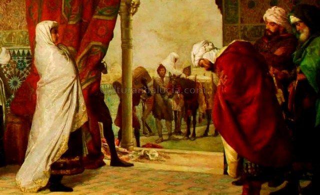 Aixa según el cuadro Salida de la familia de Boabdil de la Alhambra. Obra de Gómez Moreno en el Museo de Bellas Artes de Granada.-