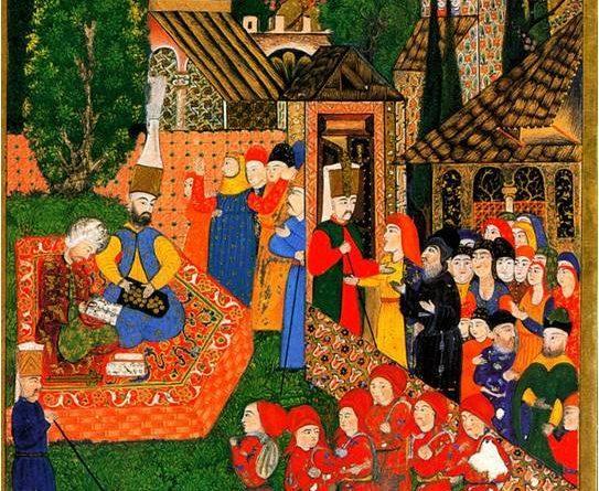 En-la-imagen-primera-se-representa-la-inscripción-de-niños-para-el-devşirme-en-una-miniatura-otomana-del-Suleymanname-1558.