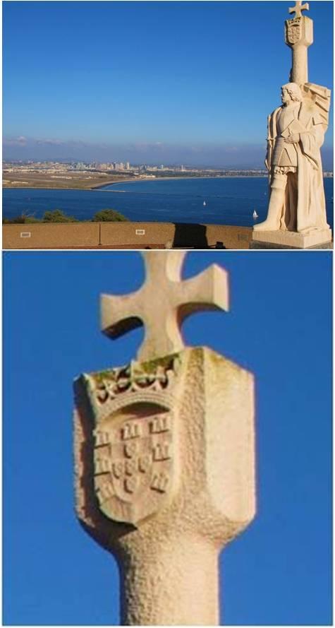 Estatua de Cabrillo en punta Loma presidiendo la bahía de San Diego y coronada por la armas de Portugal (¿?) ¿Harán algo nuestras autoridades diplomáticas?l