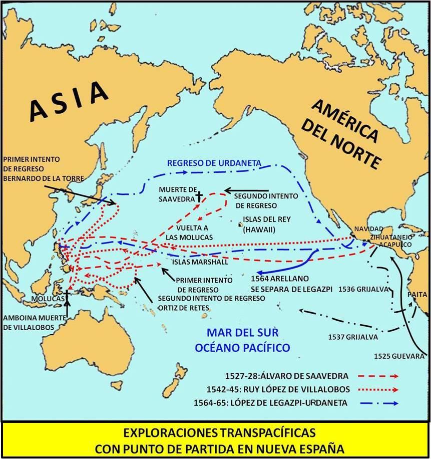 Exploraciones transpacíficas. Mapa elaboración propia ©José Antonio Crespo-Francés
