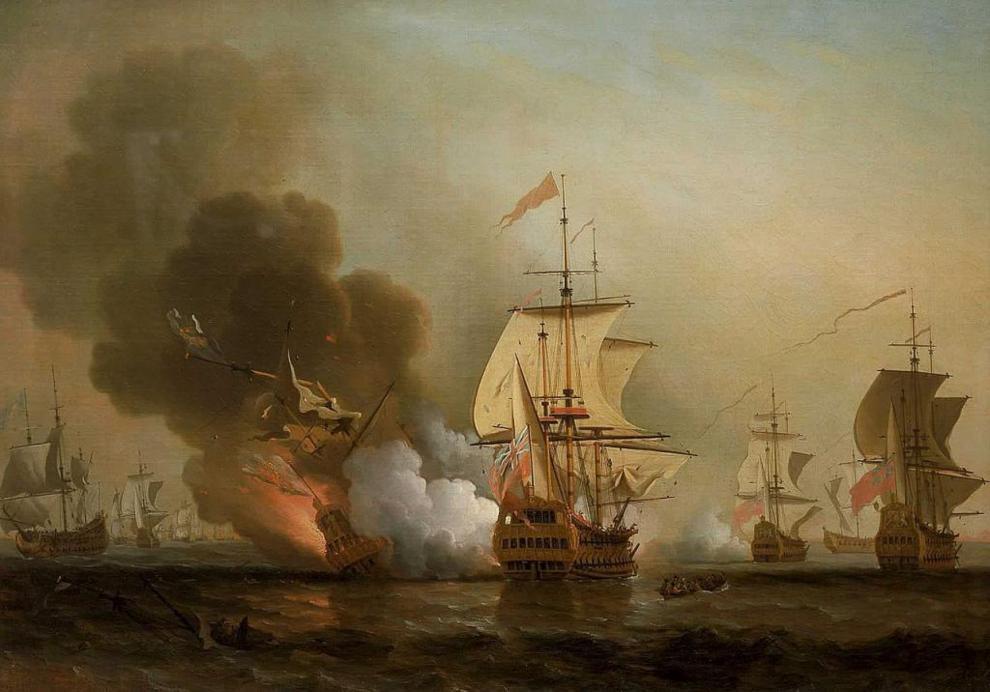 Explosión del galeón San José. Ilustración de Samuel Scott