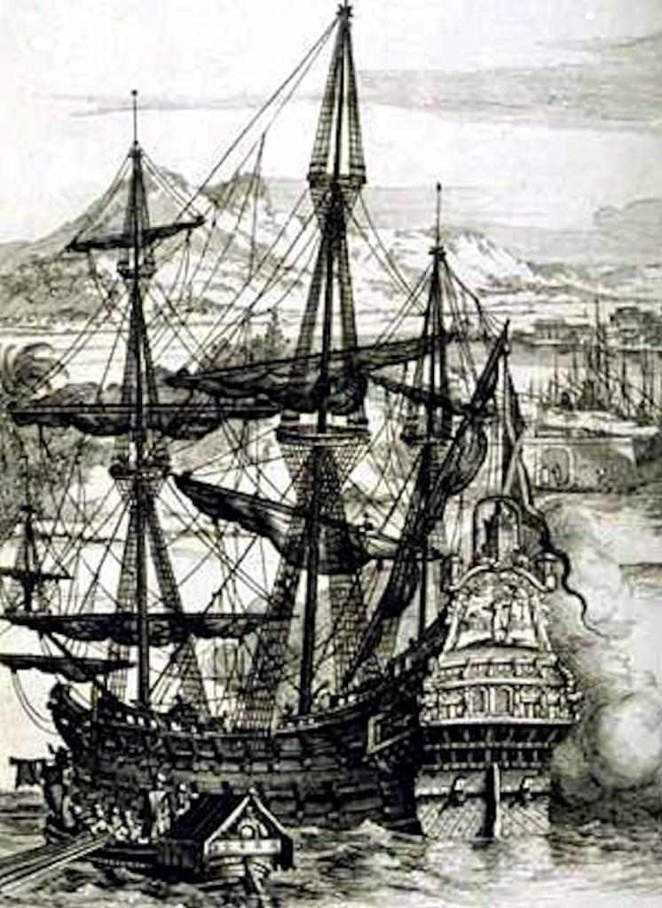 Galeón español, por Alberto Durero. Los españoles aprendieron a defenderse de los piratas franceses a través de grandes galeones. El mito de la piratería inglesa: menos del 1 % de los galeones españoles fue apresado.
