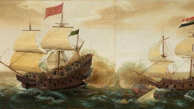 Galeones españoles contra galeones holandeses. (Cornelis Verbeeck)