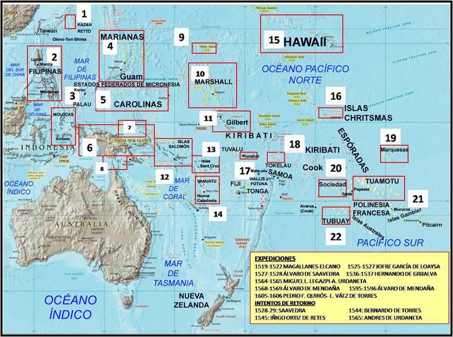 Las expediciones al oceano Pacífico. Mapa elaboración propia ©José Antonio Crespo-Francés