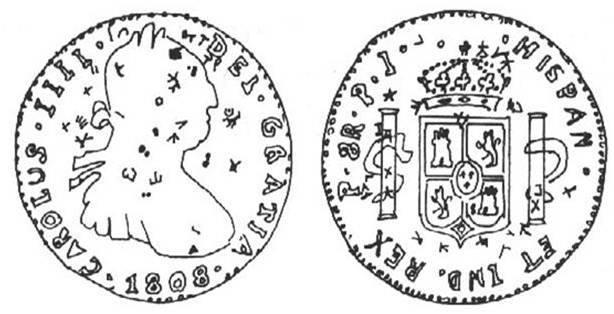 """Moneda resellada. Real de a ocho, acuñada en Potosí, hoy Bolivia en 1808. El galeón de Manila ejecutó unos 250 viajes durante los 250 años que mantuvo su ruta entre Nueva España y Filipinas. El galeón a cambio de la plata con la que se pagaba en pesos duros llevaba de regreso hacia América ámbar, almizcle, incienso, maderas exóticas, muebles artesanos, perlas, telas finas, seda, sin olvidar las especias, y los reales de a ocho quedaban en manos de comerciantes chinos que para indicar la buena ley de las monedas, tanto autoridades como comerciantes y banqueros, las marcaban con signos llamados """"chops"""", mientras más """"chops"""" contenían, eran más apreciadas."""
