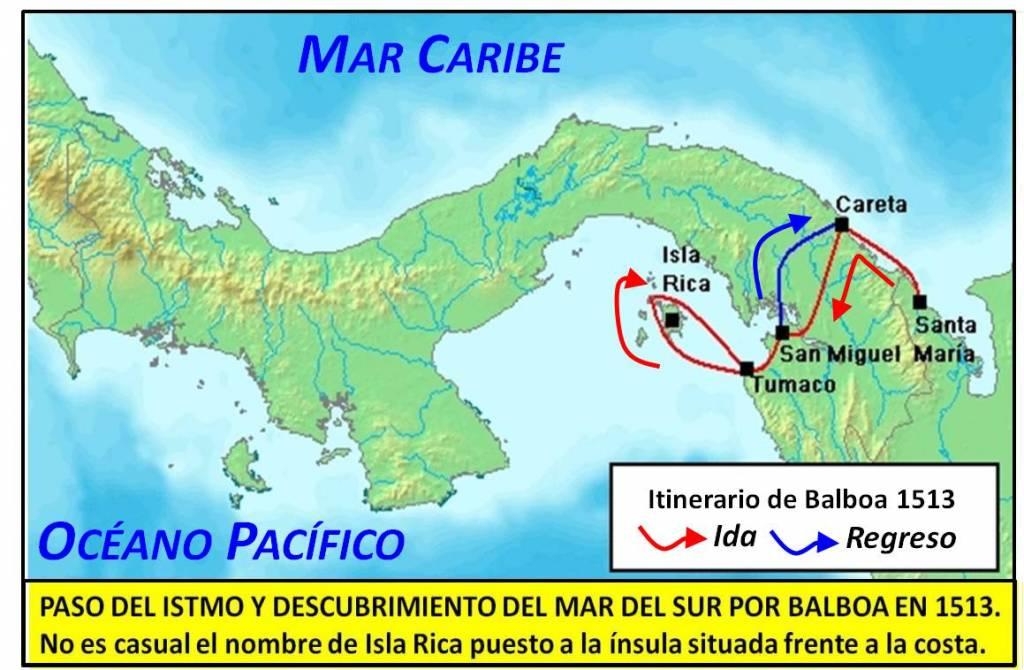 Paso del itsmo por Balboa. Mapa elaboración propia ©José Antonio Crespo-Francés