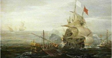 Pintura que a un galeón español defendiéndose del ataque de dos galeras. El sistema de convoy español, cuyo teórico fue el capitán general y Adelantado de la Florida Pedro Menéndez de Avilés, sería copiado por Inglaterra y EE.UU. en las dos guerras mundiales. Pero la auténtica prueba de que cumplió con su propósito es que solo dos convoyes fueron por completo apresados en toda su historia: la primera, en 1628, a la altura de Matanzas (Cuba), a manos del almirante holandés Piet Heyn; y una segunda vez en 1656.