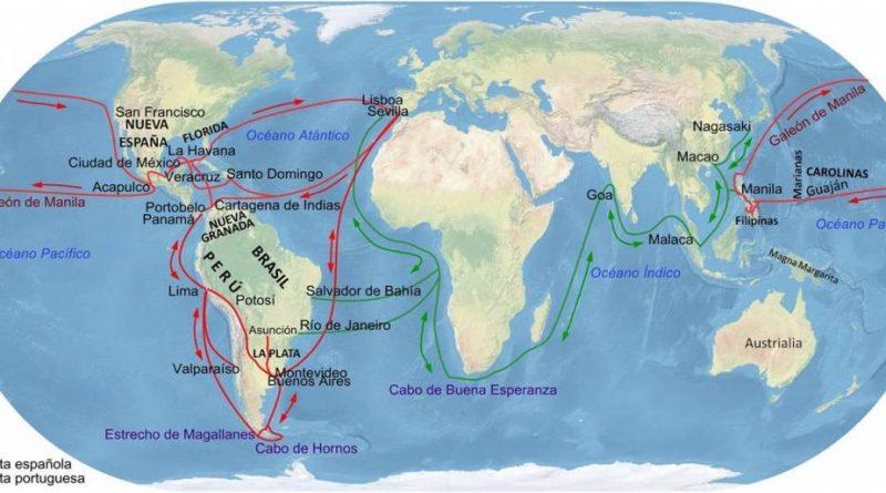 Principales rutas comerciales del Imperio español. En rojo las españolas y en verde las portuguesas. El Galeón de Manila o Nao de China, fue el nombre con el que se conocían las naves españolas que cruzaban el Pacífico una o dos veces por año entre Manila en las Filipinas y los puertos de Nueva España principalmente Acapulco. Durante casi 250 años, mediante el comercio a través del Océano Pacífico, España, vinculó Asia con América y Europa. Las mercancías de Asia, como vasos y jarrones de porcelana, especias, tejidos, seda, lino y algodón, abanicos, peinetas, joyeros, tapices, alfombras, pañuelos, cofres, estatuas de marfil, almizcle, bórax y alcanfor, entre otros, eran transportadas a Manila. Y de allí, zarpaban rumbo a Acapulco, en Nueva España, a finales de noviembre o principios de diciembre. Mapa elaboración propia ©José Antonio Crespo-Francés.