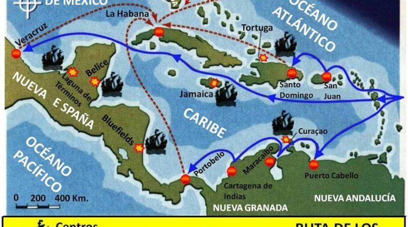 Ruta de los galeones. Mapa elaboración propia ©José Antonio Crespo-Francés