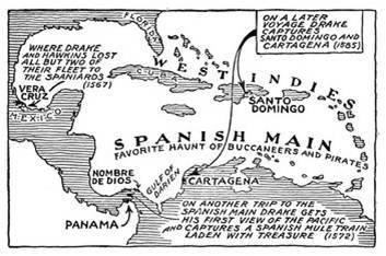Zonas de actuación de Francis Drake entre 1567 y 1573